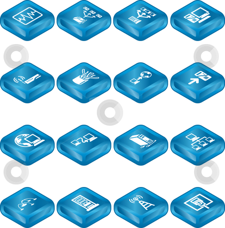 Network Computing Icons Series Set.  stock vector clipart, A series of icons relating to computer networks. by Christos Georghiou