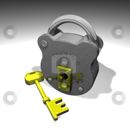 Illustration of lock and key stock photo, Illustration of secure lock and key by Christos Georghiou