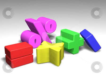 Illustration of math symbols stock photo, Illustration of colorful mathematics symbols by Christos Georghiou