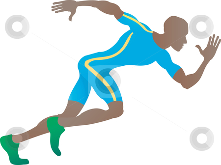 Sprinter stock vector clipart, An illustration of a stylised sprinter running in profile by Christos Georghiou