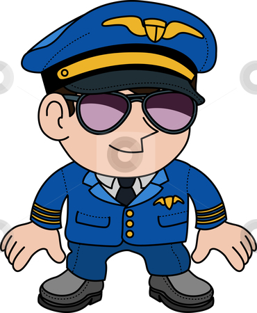 Illustration of pilot stock vector clipart, Illustration of flight pilot in sunglasses by Christos Georghiou