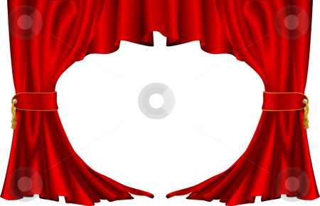 Red theatre style curtains stock vector clipart, An illustration of a pair of red theatre style curtains by Christos Georghiou