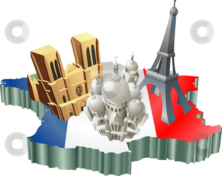 French tourism stock vector clipart, An illustration of some tourist attractions in France, signifies French tourism by Christos Georghiou