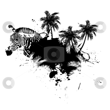 Palm Trees Grunge stock photo, Grungy tropical palm tree graphic with a zebra and lots of splatter. by Todd Arena