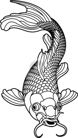 Koi carp black and white fish stock vector clipart, A beautiful koi carp fish illustration in monochrome. Symbol of love, friendship and prosperity by Christos Georghiou