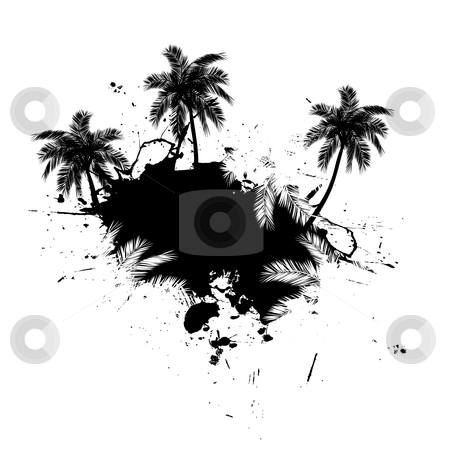 Palm Trees Grunge stock photo, Grungy tropical palm tree graphic with lots of splatter. by Todd Arena