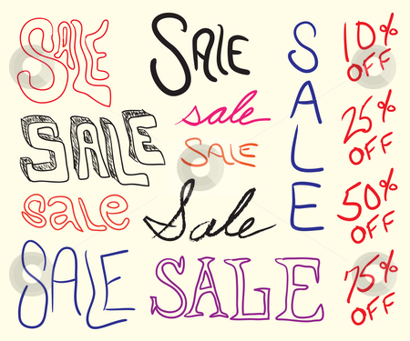 Sale Sign Doodles stock photo, Hand written sale sign elements for any marketing promotion. by Todd Arena