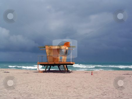 Stormy Lifeguard Tower stock photo, A stormy beach day in Miami, Florida. by Todd Arena