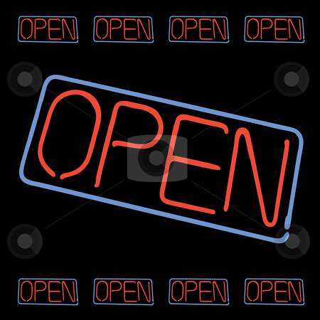 Neon Open Sign stock photo, Neon OPEN sign elements isolated over black. by Todd Arena