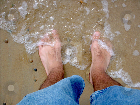 Hairy, Cold, Wet Feet stock photo, The ocean is washing ashore on my piggie toes. by Todd Arena