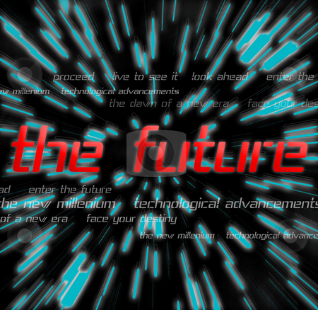 The Future stock photo, A future themed montage with typography over a space background. by Todd Arena