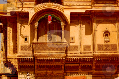 Jaisalmer architecture stock photo, Typical balcon in the city of Jaisalmer, in the indian state of Rajasthan by Piero Biondo