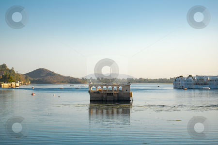 Palast on lake Pichola stock photo, One of the many old building to explore in Udaipur, in the Indian State of Rajasthan... by Piero Biondo