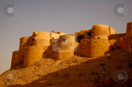 The old city of Jaisalmer stock photo, View to the old city of Jaisalmir from unterneat the fort... by Piero Biondo
