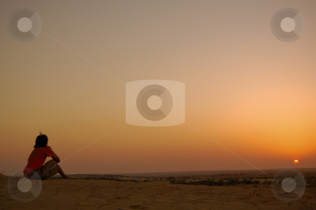 One moment of silence stock photo, Sunset at the Thar desert, in the indian state of Rajasthan by Piero Biondo