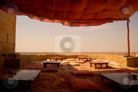 Indian restaurant stock photo, One of the many indian restaurants in Jaisalmir, in the Indian state of Rajasthan... the view over the Thar desert is amazing by Piero Biondo
