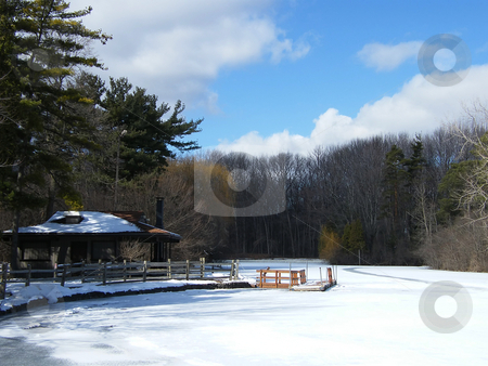 Boat House and Dock in Winter stock photo, Boat house and dock in Northwest Ohio in the dead of winter. by Dazz Lee Photography