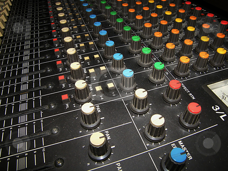 Sound Mixing Board stock photo, Sound Mixing Board, used in music recording, studios, and with a PA. by Dazz Lee Photography