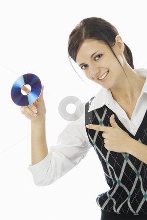 Young beautiful lady stock photo, Smiling young lady holding CD. 