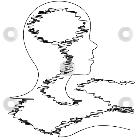 Profile silhouette thread person strung out at loose ends stock vector clipart, Outline of a person in string or thread tangle, with copyspace in her head. by Michael Brown