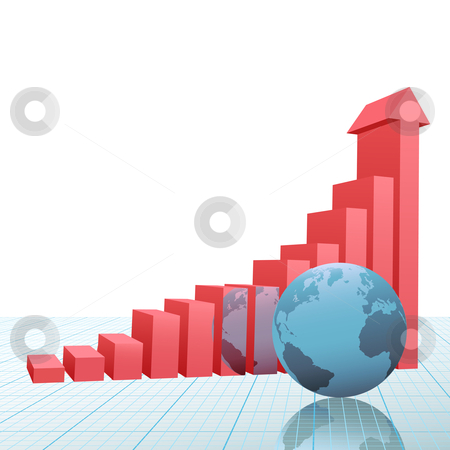 Progress bar chart up arrow earth on graph paper stock vector clipart, A 3D Financial Bar Chart on graph paper with up arrow predicting success and growth and earth reflected. by Michael Brown