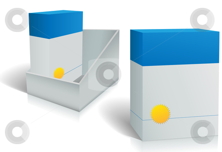 Two software product boxes in open box design stock vector clipart, Two software product boxes in open box design