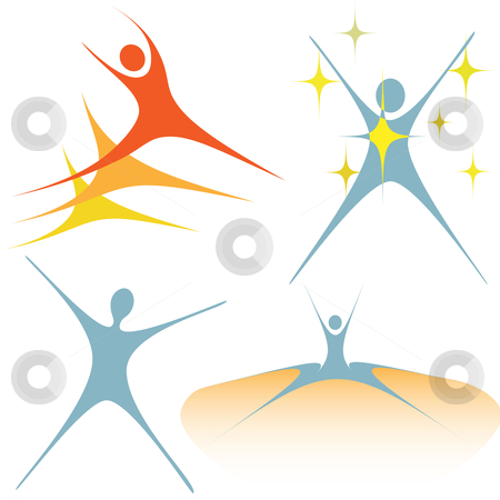 Enthusiastic swoosh people as set of symbols stock vector clipart, A set of symbol people design elements embody enthusiasm, activity. by Michael Brown