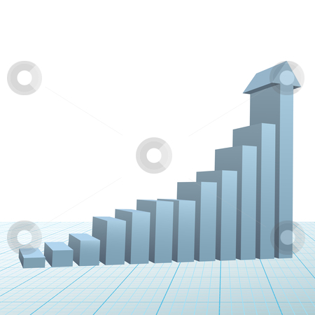 Progress growth bar chart up arrow on graph paper stock vector clipart, A high rise 3D Financial Bar Chart on graph paper with up arrow predicting success and growth. by Michael Brown