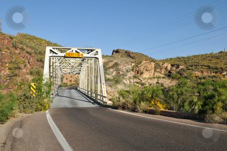 Trestle stock photo, Single lane trestle bridge on Apache Trail, Canyon Lake, northeast of Phoenix, Arizona by Harris Shiffman
