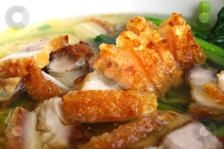 Noodle Soup stock photo, A bowl of roast pork and vegetable noodle soup by Martin Darley