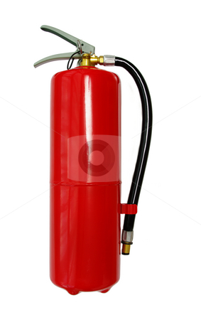 Fire Extinguisher stock photo, A bright red Fire Extinguisher. Isolated on white by Martin Darley