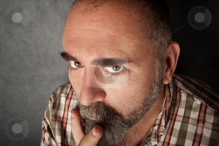 Closeup of man in his 40s stock photo, Closeup of a man in his forties with mustache by Scott Griessel