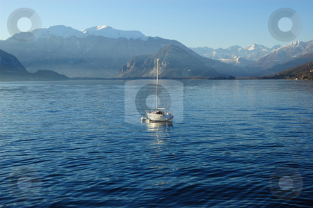 Boat on lake stock photo, Boat on Maggiore Lake (Italy) by ALESSANDRO TERMIGNONE