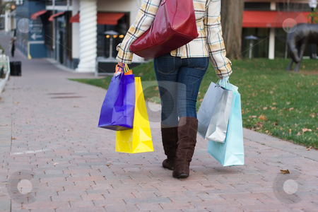 Pretty Girl Shopping stock photo, An attractive girl out shopping in the city. by Todd Arena