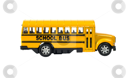 School Bus stock photo, Side view of a toy school bus with the door, isolated against a white background by Richard Nelson