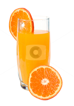 Healthy Drink stock photo, A tall glass of fresh orange juice, isolated against a white background by Richard Nelson