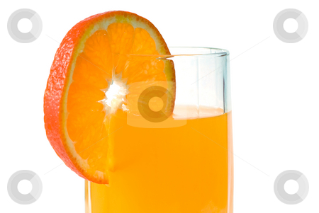 Fresh Orange Juice stock photo, Closeup view of some fresh orange juice, isolated against a white background by Richard Nelson
