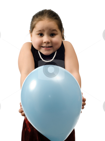 Don't Pop It stock photo, A young girl holding a blue balloon and doesn't want it popped, isolated against a white background by Richard Nelson