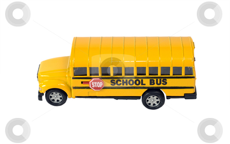 Toy School Bus stock photo, Side view of a toy school bus, isolated against a white background by Richard Nelson
