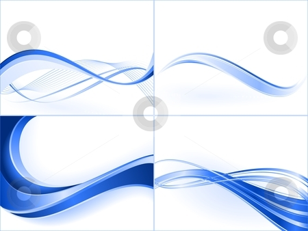 Blue wave templates stock vector clipart, Blends, clipping masks, linear gradients. by Ina Wendrock