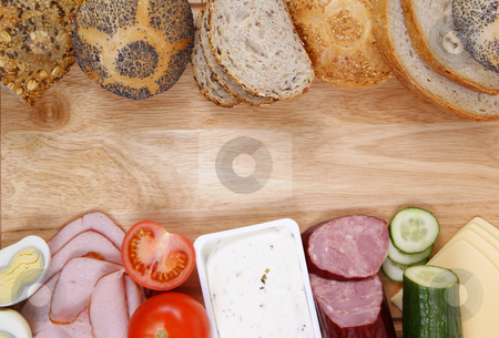 Breakfast stock photo, Variable types of bread and products as background by Jolanta Dabrowska