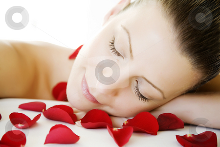 Beauty sleep stock photo, Youn female enjoying a relaxing time or maybe a beauty treatment by Liv Friis-Larsen