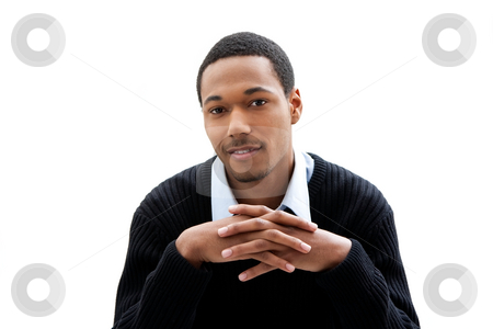 Handsome man stock photo, Handsome African American male in blue shirt and black sweater, isolated by Paul Hakimata