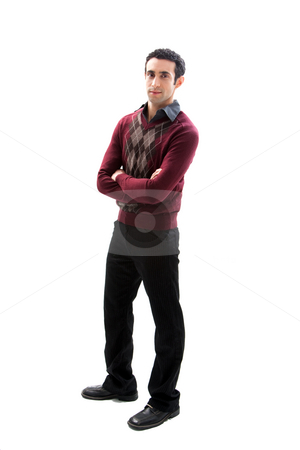 Handsome guy standing stock photo, Cool handsome male wearing casual business attire standing with arms crossed, isolated by Paul Hakimata