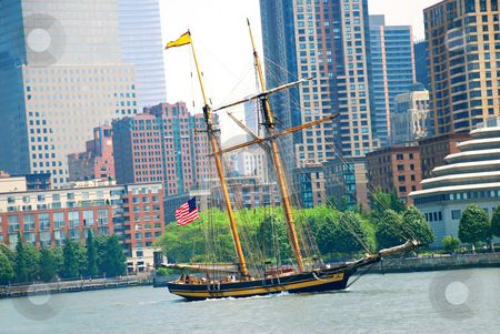 Sailing ship in New York stock photo, Sailing ship over New York City urban view by Julija Sapic