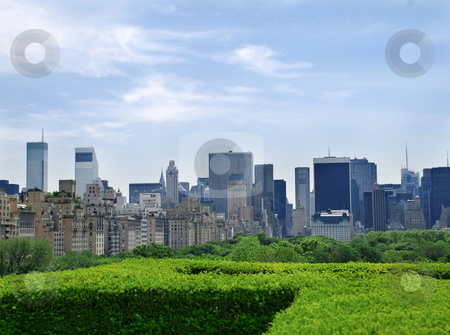 Urban view stock photo, Urban landscape of new york skyscrapers over blue sky by Julija Sapic