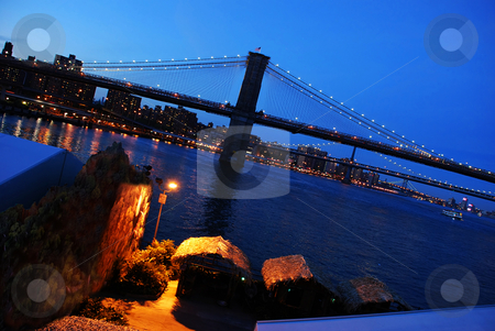 Brooklyn Bridge stock photo, Fragment of Brooklyn Bridge in New York by Julija Sapic
