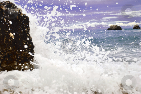 Blue sea  wave stock photo, Blue wave formation with foam in adriatic sea by Julija Sapic