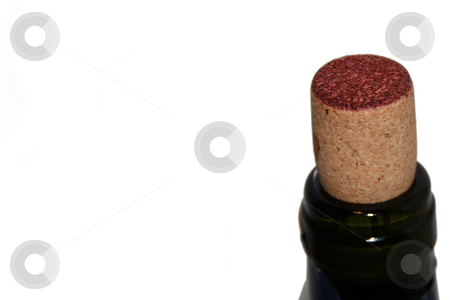 Put a cork in it stock photo, Cork in wine bottle isolated on a white background by Chris Alleaume