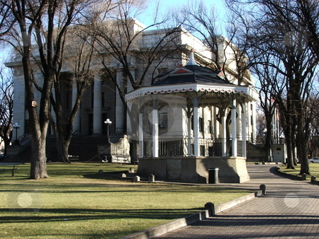 Prescott County Courthouse stock photo, Winter season picture of the Yavapai County County Courthouse in Prescott, Arizona which was also the first capital of Arizona when it became a territory in 1864.  In the foregroud is a Gazebo by Dennis Thomsen